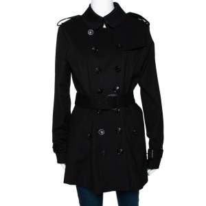 Burberry Black Double Breasted Belted Trench Coat M