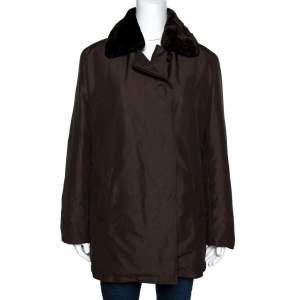 Burberry Vintage Brown Button Front Puffer Jacket L