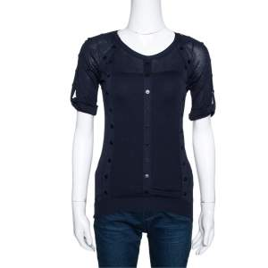 Burberry Prorsum Navy Blue Silk & Cotton Knit Studded Top S