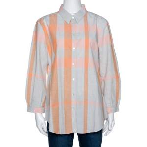 Burberry Brit Grey & Pink Giant Checked Cotton Shirt XL
