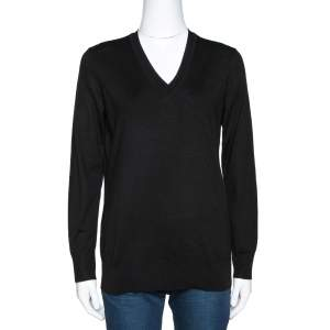 Burberry Black Merino Wool V Neck Sweater S