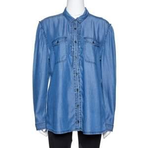 Burberry Brit Blue Lyocell Chambray Pintuck Detail Shirt XL