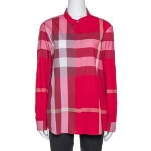 Burberry Red Cotton Nova Check Button Front Shirt XL