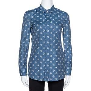Burberry Brit Blue Printed Cotton & Silk Long Sleeve Shirt XS