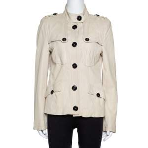 Burberry Beige Leather Button Front Jacket M