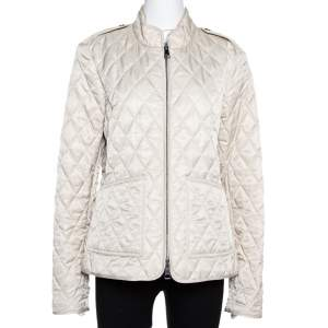 Burberry Brit Beige Quilted Zip Front Jacket XL