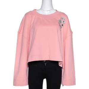 Burberry Rose Pink Terry Cotton Crystal Brooch Detail Cropped Sweatshirt L