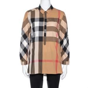 Burberry Brit Camel Exploded Check Cotton Half Placket Shirt S