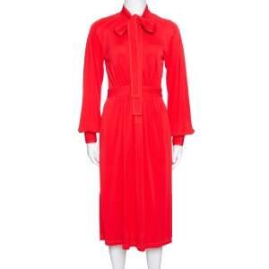 Burberry Red Jersey Top Stitch Detail Tie Neck Dress XS
