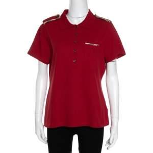 Burberry Brick Red Cotton Pique Shoulder Flap Detail Polo T Shirt XL