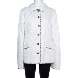 Burberry White Diamond Quilted Button Front Jacket L