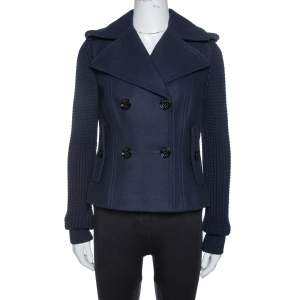 Burberry Navy Blue Wool Blend Knitted Sleeve Pea Coat S