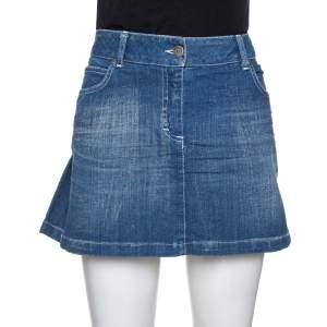 Burberry Blue Denim Pleated Mini Skirt S