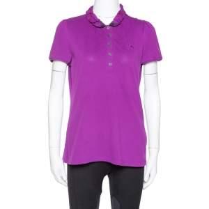 Burberry Brit Purple Cotton Ruffled Collar Polo T-Shirt M