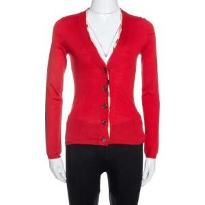 Burberry Brit Red Wool Knit Nova Check Trim Sweater XS