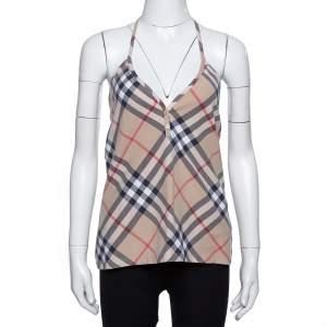Burberry Beige Nova Check Stretch Cotton Halter Neck Top XL