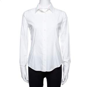 Burberry White Stretch Cotton Button Front Shirt S