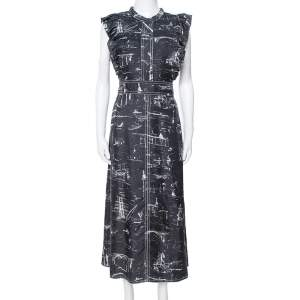 Burberry Black Landmark Print Silk Ruffle Detail Parker Dress L