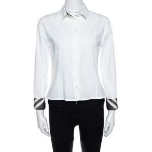 Burberry Brit White Stretch Cotton Long Sleeve Shirt M