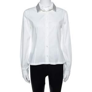 Burberry White Cotton Studded Collar Long Sleeve Shirt M