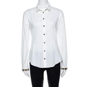Burberry Brit White Cotton Jewel Embellished Cuff Long Sleeve Shirt M