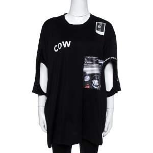 Burberry Black Cotton Montage Print Oversized Cutout T-Shirt XL