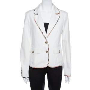 Burberry White Cotton Denim Blazer M