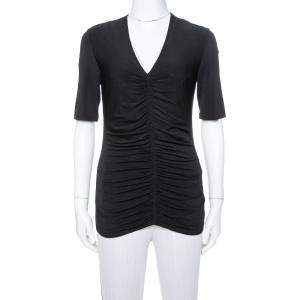 Burberry Black Stretch Knit Ruched V-Neck Top S