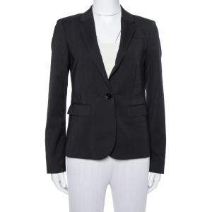Burberry Black Wool Single Button Tailored Blazer S