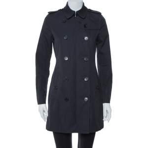 معطف طويل بربري مزين طية صدر جاكارد و غاباردين أزرق مقاس صغير (سمول)