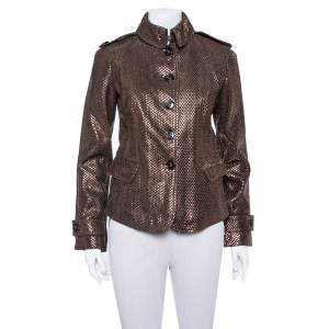 Burberry Brown Metal Embossed Leather Button Front Jacket S