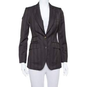 Burberry Vintage Brown Pinstriped Wool Classic Blazer S