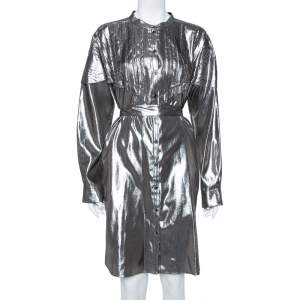 Burberry Metallic Silver Silk Lamé Belted Shirt Dress L