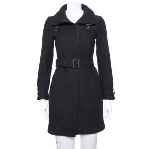 Burberry Brit Black Wool Belted Rushworth Mid Length Coat XS