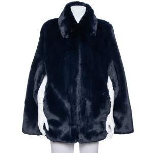 Burberry Navy Blue Faux Fur Collared Cape Jacket XS