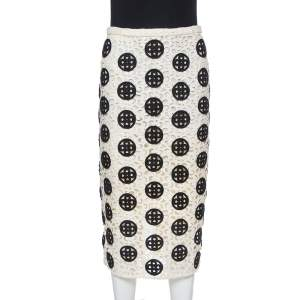Burberry Prorsum Cream & Black Guipure Lace Pencil Skirt S