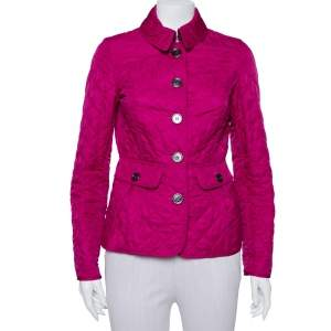 Burberry Brit Fuschia Pink Synthetic Quilted Jacket S