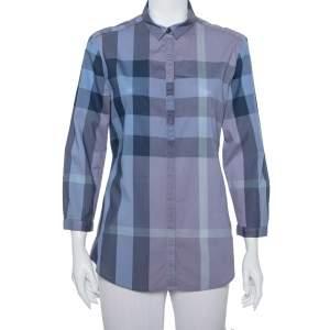 قميص بربري بريت قطن أزرق كاروهات بأزرار أمامية مقاس كبير - لارج
