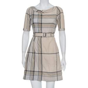 Burberry Brit Beige Checkered Pattern Cotton Belted Mischa Dress XS