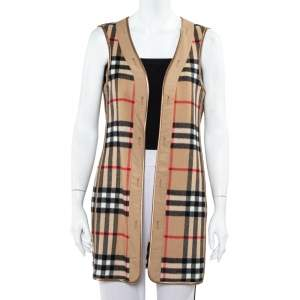 Burberry Beige Sandringham Check Patterned Cashmere & Wool Warmer L