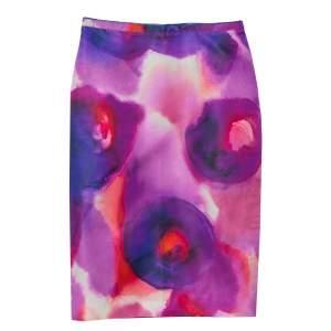 Burberry Prorsum Multicolor Silk & Cotton Pencil Skirt S