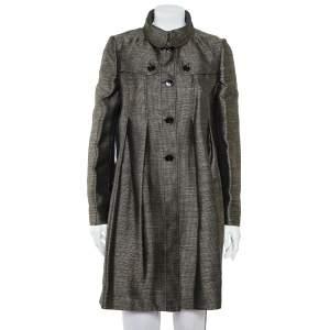 معطف بربري طول للركبه أزرار أمامية تويد ميتاليك مقاس وسط (ميديوم)