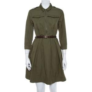 Burberry Brit Military Green Cotton Belted Flared Mini Dress S