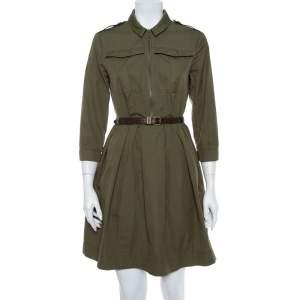 فستان بربري بريت قصير واسع حزام قطن أخضر ميليتري مقاس صغير (سمول)