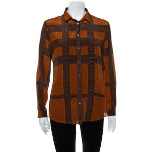 Burberry Brown Printed Silk Button Front Shirt M