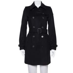 معطف بربري حزام صدرية مزدوجة كشمير و صوف أسود مقاس صغير (سمول)