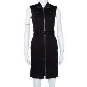 Burberry Brit Black Denim Belted Zipper Front Short Dress S
