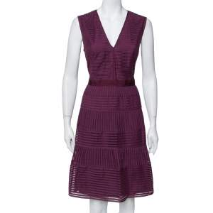 Burberry Purple Cotton Sleeveless Midi Dress L