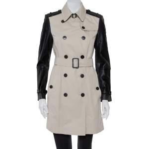 معطف بربري قطن بيج وجلد بصفين أزرار مقاس متوسط - ميديوم
