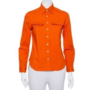 قميص بربري قطن برتقالي جيب مزين مقاس صغير - سمول